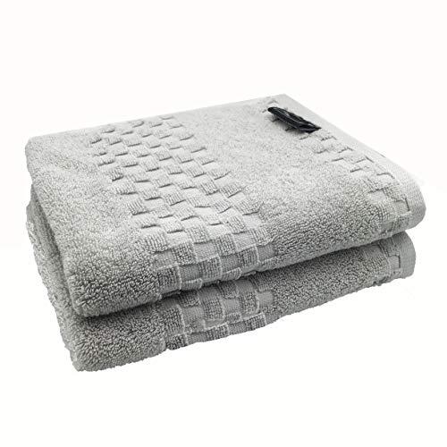 % Turkish Cotton Hand Towels Set of 2, Luxury, Eco-Friendly Extra Large Oversized for Bathroom (Light Grey, 2) ()
