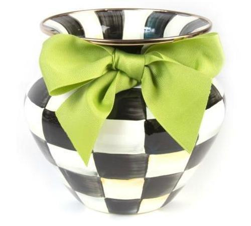 MacKenzie-Childs Courtly Check Enamel Vase Green - Check Childs Courtly Enamel