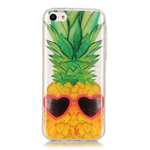 Custodia iPhone 5C , LH Ananas TPU Silicone Trasparente Case Cover Cristallo Morbido Custodie per Apple iPhone 5C