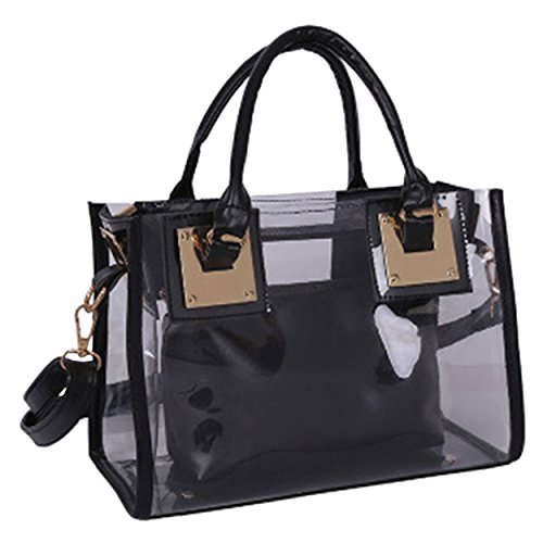 Womens Set Bags Shoulder Transparent 2Pcs Black Beach Bag M Handbag amp;A 0Z4TnTq5