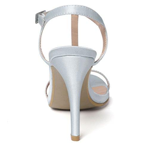 Allegra K Damen Riemen in T-Form Silber Grau
