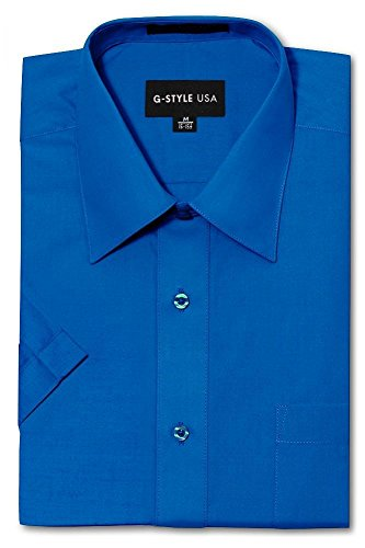 G-Style USA Men's Regular Fit Short Sleeve Solid Color Dress Shirts - Royal Blue - 3XL/19-19.5 Blue Formal Shirt