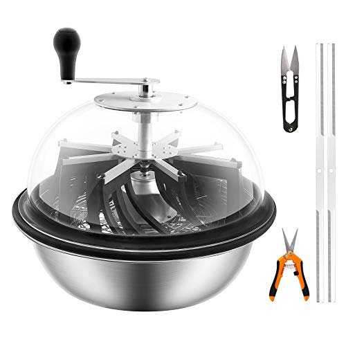 VIVOSUN 16 inch Bud Leaf Bowl Trimmer- Clear Visibility Dome, Sharp Stainless Steel Blades for Spin Cut & Solid Metal Gear Box, Hand Pruner Included (Upgraded Version)
