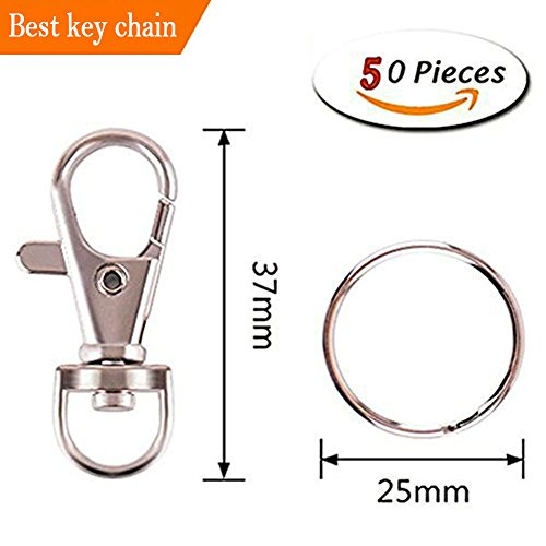 Key Tag Swivel (Curved Lobster Clasps Metal Swivel Lanyard Snap Hook with Key Rings,TV Remote Key Chain,Manual Art Keychain,50 PCS Silver)