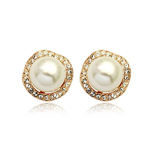 cckiise Clip On Pearl Earrings with Art Vintage Wedding Style - Cream Pearls (Gold1)