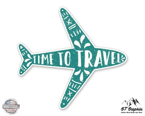 "Time to Travel Cute Airplane - 3"" Vinyl Sticker - For Car Laptop I-Pad Phone Helmet Hard Hat - Waterproof Decal"