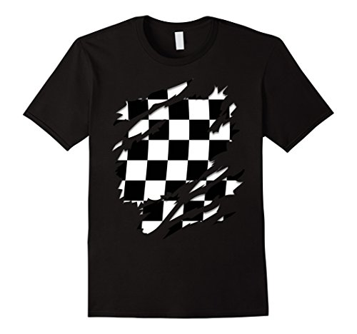 Racing Flags Shirt (Mens Checkered Flag Ripped T-shirt Checkered Pattern Racing Lover XL Black)