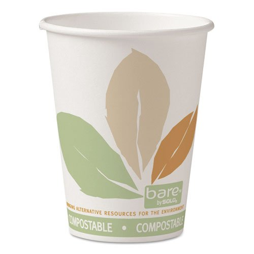 SOLO Cup Company Bare Eco-Forward Paper Hot Cups, 12 oz., Bare Design, 50/Bag - Includes 20 sleeves of 50 cups. 1000 per case.
