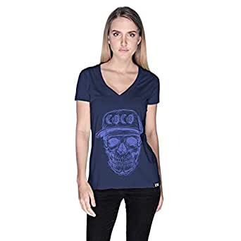 Creo Violet Coco Skull T-Shirt For Women - M, Navy Blue
