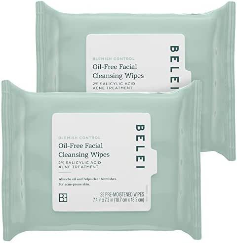 Belei Oil-Free Blemish Control Facial Cleansing Wipes, 2% Salicylic Acid Acne Treatment, Dermatologist Test, 25 Count (Pack of 2)