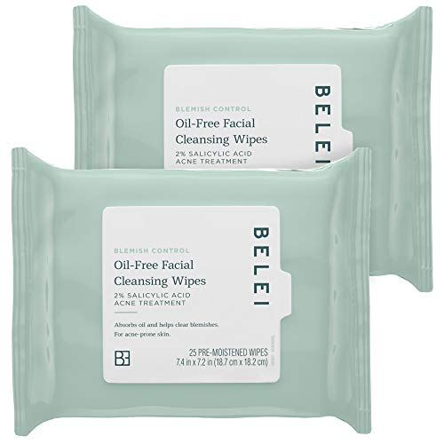 Belei Blemish Control Oil-Free Facial Cleansing Wipes, 2% Salicylic Acid Acne Treatment, Dermatologist Tested, 25 Count (Pack of 2)