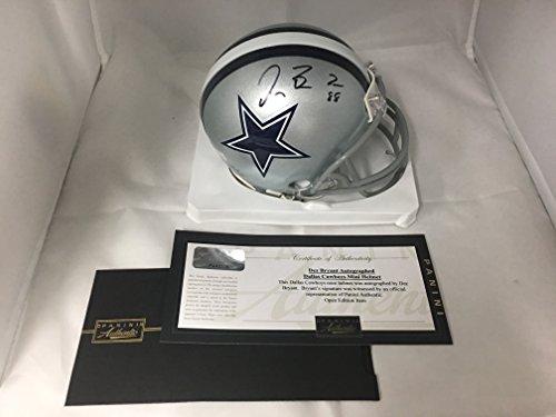 Dez Bryant Signed Autographed Dallas Cowboys Mini Helmet Panini Hologram & COA W Photo Of Signing