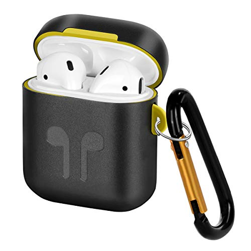 Metal Case Cover Compatible for Airpods Case, Portable Protective Silicone& Metal Dual Layer Cover with Keychain Replacement for Airpods Case, Anti-Lost, Shockproof, Dustproof & Scratchproof-Black