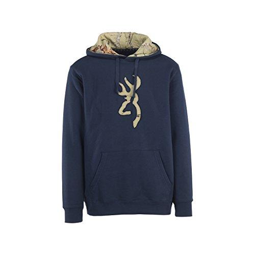 SPG Outdoors Browning Mens Buckmark Camo Sweatshirt, Mossy Oak, Dress Blue, Large, Pack Of 1 (Signature Dress Sweater)