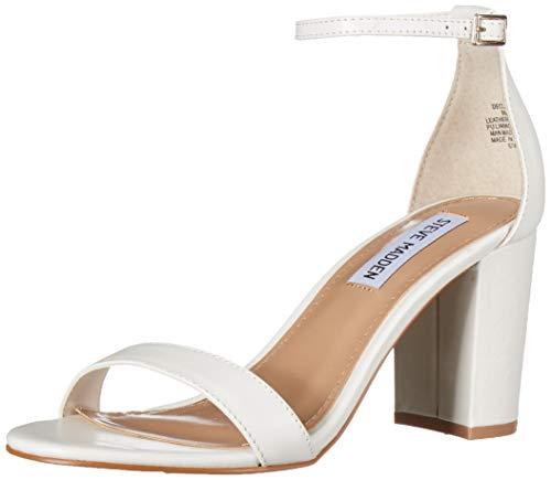 Steve Madden Women's DECLAIR Sandal, White Leather, 6.5 M - Block Heel High Shoe Trendy