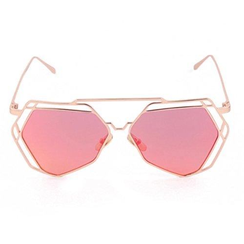Femmes Géométrie de Oeil Design Lunettes Culater® Miroir de Twin Rouge Métal Chat Cadre Lunettes Poutres Soleil nAwpU