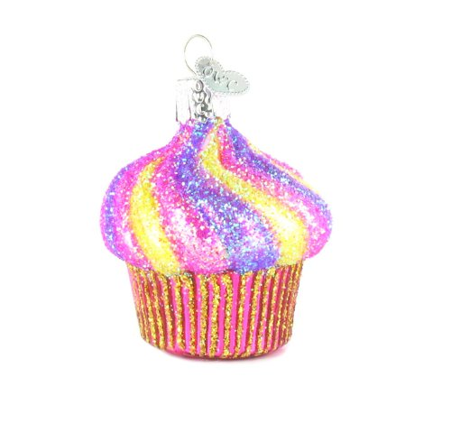 Old World Christmas Yummy Glitter Cupcake Glass Ornament