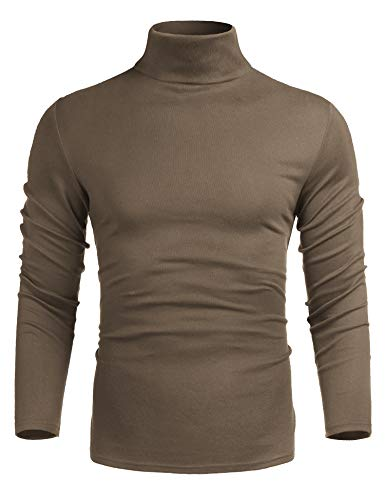 poriff Men's Casual Slim Fit Long Sleeve Tops T-Shirt Knitted Pullover Turtleneck Sweater Khaki ()
