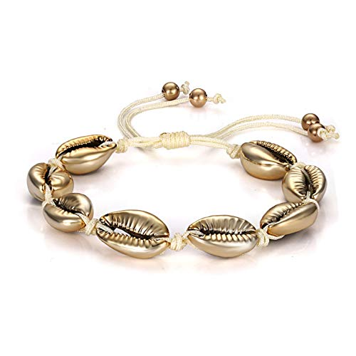 MOLOCH Shell Bracelet for Women Girls Natural Cowrie Bead Bracelets Handmade Adjustable Beach Surfer Puka Shell Jewelry (Gold Shell)
