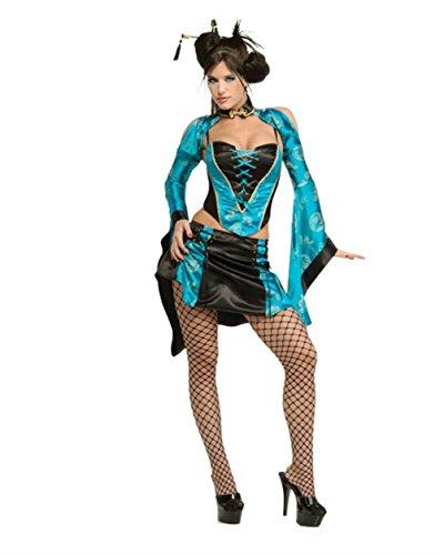 Sexy Women's Black Blue Naughty Chinese Geisha Girl Adult Costume Medium (Naughty Harlequin Clown Costumes)