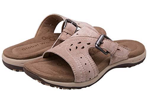 0821fd3e582 GLOBALWIN Women s Khaki Flat Slide Sandal 7.5 M US