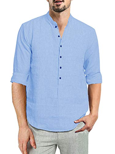 - Beotyshow Mens 3/4 Sleeve Cotton Linen Six-Button Front Placket Pullover Shirts Summer Beach Oxford Shirt Plain Casual Hippie Banded Collar Henley Shirts for Men Sky Blue