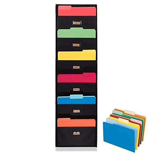 Ronny's Cascading Wall File Paper Organizer - Waterproof Wall Hanging File Folders Holder - 6 Pockets Use for Files, Scrapbook, Papers, Bills - Black (Organizer Scrapbook Wall)
