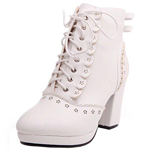 AIYOUMEI Damen Blockabsatz Stiefeletten mit Schleife und Spitze Herbst Winter Schnürstiefeletten Schuhe RyTJ6fBIS