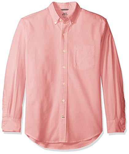 IZOD Men's Oxford Solid Long Sleeve Shirt, Rapture Rose, Medium Cotton Embroidered Oxford Shirt