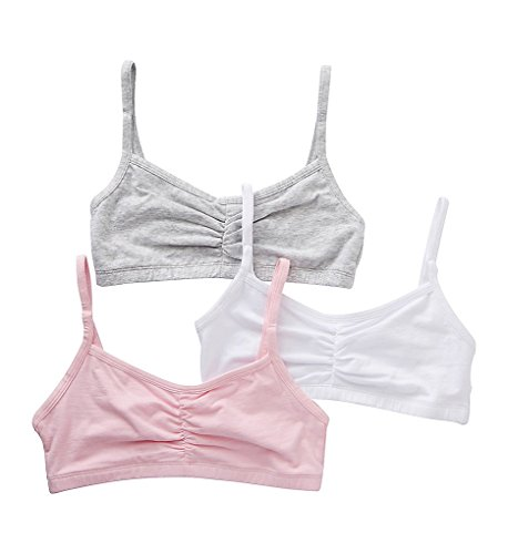 - Bestform Strappy Shirred Front Bra 3 per Pack (38, Pink/Grey/White)