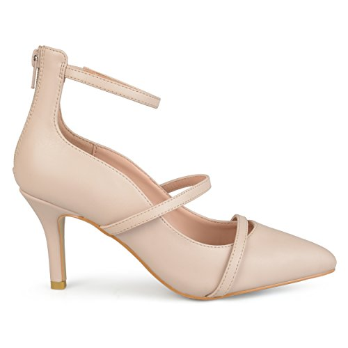 Cream Leather Pumps - Brinley Co. Womens Faux Leather Pointed Toe Ankle Strap Heels Nude, 8.5 Regular US