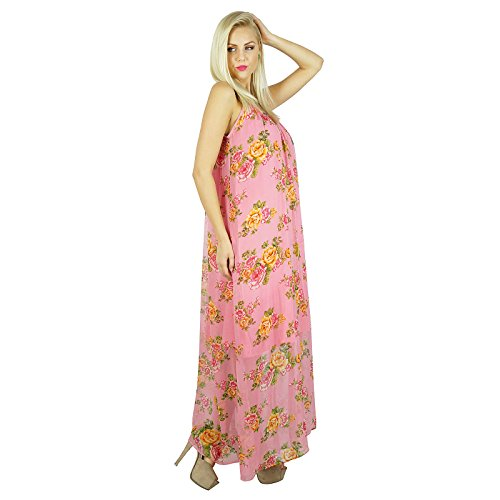 Women Half Dress Sheer Bohemian Long Pink Semi Lined Gown Style Chiffon Bimba Maxi 6qUwgAU