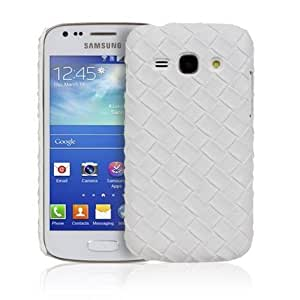 Cerhinu White Diamond Weave Design Leather Back Case For Samsung Galaxy Ace 3 S7270