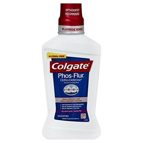 Colgate Phos Flur Ortho Defens Fluoride Rinse, Gushing Grape, 16.9-Ounce Bottle (Pack of 2)