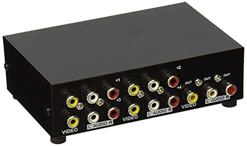 AuviPal 4-Way RCA Switcher 4 in 1 Out Composite Video L/R Audio AV Selector Box for DVD VCR VHS/AV Receiver/Game Consoles