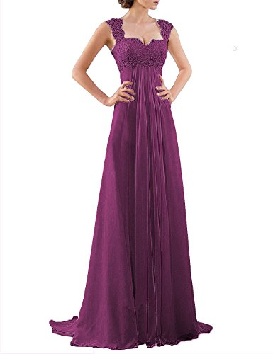 DYS Women's Empire Waist Bridesmaid Wedding Party Dress Lace Formal Evening Gown Grape US 14