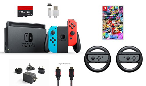 Nintendo Switch 7 items Bundle:Nintendo Switch 32GB Console Neon Red/Neon Blue,128GB Micro SD Card,Nintendo Joy-Con Controllers Gray,Mario Kart 8 Deluxe,Mytrix HDMI,Type-C Cable,Wireless Wheel