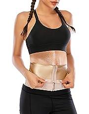 FIRSTLIKE Women Sauna Waist Belt Hot Sweat Body Shaper Slimming Sweat Belt Polymer Waist Trainer Cincher Girdle for Weight Loss Zipper Waist Band