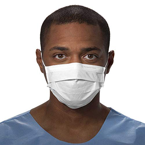 Kimberly-Clark Procedure Mask (47090), Pleated, Ear Loops, White, 50 Masks / Dispenser Box
