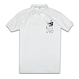Cool French Bulldog With Sunglass Man Polo Style XXL White