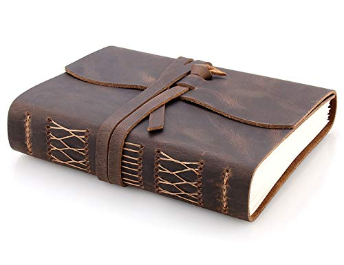 Leather Journal Travel Notebook, Handmade Vintage Leather Bound Writing Notebook for Men & Women, Unlined Travel Journal to Write in 320 Pages Medium Size 7