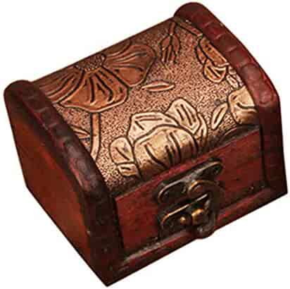 Amaping Vintage Handmade Wood Flower Carving Small Cash Box with Key Lock Wooden Money Jewelry Bracelet Pearl Case Savings Piggy Bank (Bronze Carving Lotus)