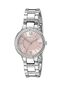 Fossil Women's Virginia Quartz Stainless Steel and Stainless Dress Watch Color: Silver, Pink (Model: ES3504)