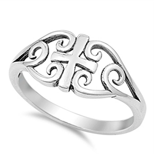 Cross Ring 925 Sterling Silver Filigree Celtic 4-10, Size-6 ()