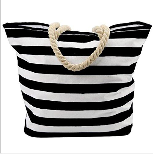 LXYIUN Bolsa De Playa Grande con,Apertura Y Cierre De Cremallera Tela Oxford Bolsa De La Compra Estilo Simple Raya Bolsa De Playa,Red Black