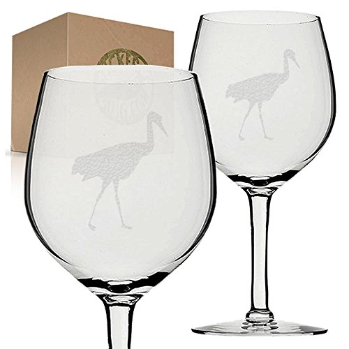 Stickerslug Engraved Flamingo Wine Glasses, 11 ounce, Set of (Flamingo Goblet Set)