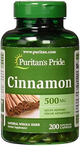 Puritans Pride Cinnamon 500 mg Capsules, 200 Count