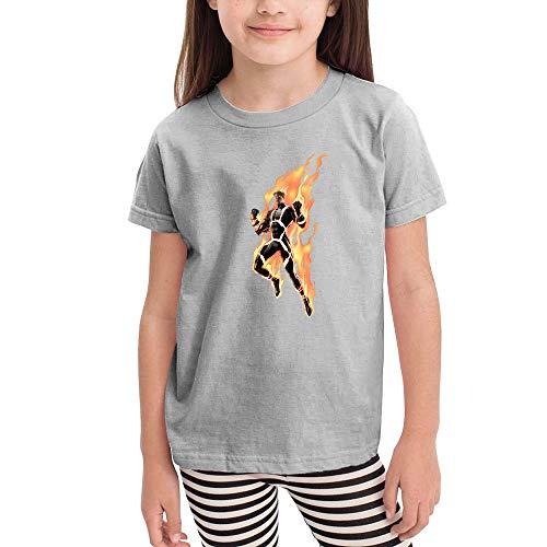 WodCht Girl Short-Sleeve T-Shirts Human-Torch 2T Gray -