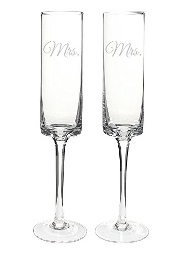 Cathy's Concepts Mrs. & Mrs. Contemporary Champagne Flutes, Clear ()