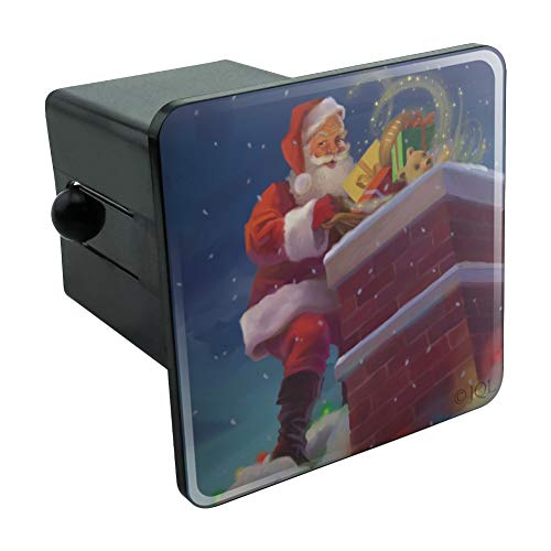 (Graphics and More Christmas Holiday Santa Going Down The Chimney Tow Trailer Hitch Cover Plug Insert 2